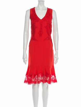 Jonathan Simkhai Lace Pattern Midi Length Dress Red