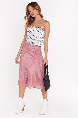 Nasty Gal Womens It'S Worth A Spot Satin Midi Skirt - Pink - L, Pink