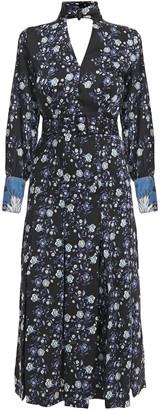 Sandro Bonny Cutout Pleated Floral-print Satin-twill Midi Dress