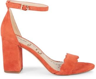 Sam Edelman Odila Suede Block-Heel Ankle-Strap Sandals
