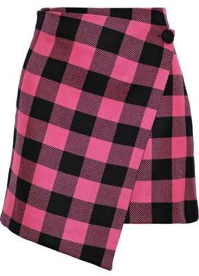Milly Wrap-effect Checked Wool-twill Mini Skirt
