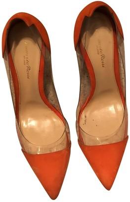 Gianvito Rossi Plexi Orange Suede Heels