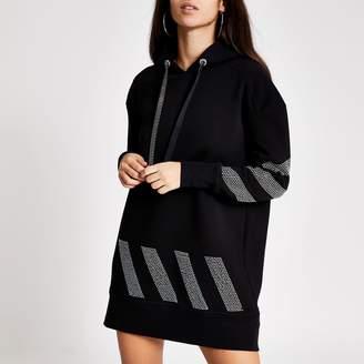 River Island Womens Black diamante stripe longline hoodie