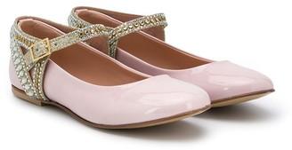 Mischka Aoki Kids Embellished Strap Ballerina Pumps