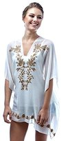 Pure Style Girlfriends Women's Embroidered Poncho Beach Cover Up Blouse