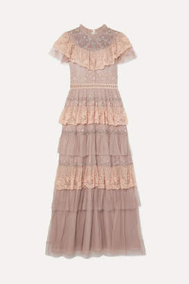 Needle & Thread Cinderella Tiered Embellished Tulle And Lace Gown - Pink