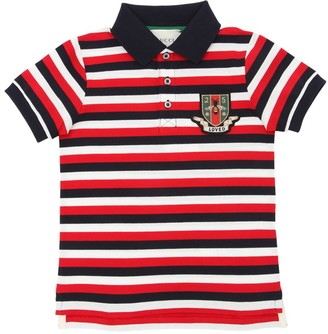 Gucci STRIPED COTTON PIQUE POLO