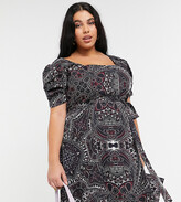 Thumbnail for your product : Koko square neck skater dress in paisley print