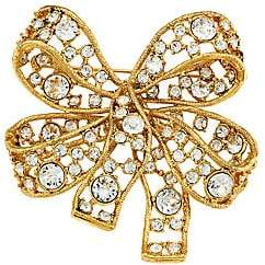Kenneth Jay Lane Women's 22K Antique Goldplated & Crystal Bow Brooch