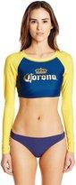 Corona Women's Gold Foil Junior Long Sleeve Crop Rashguard
