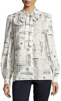 Tory Burch Kia Long-Sleeve Tie-Neck Sailboat-Print Blouse, White