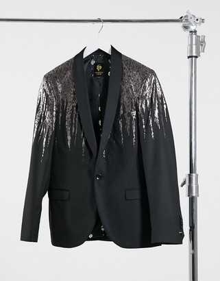 Twisted Tailor blazer with silver drip in black