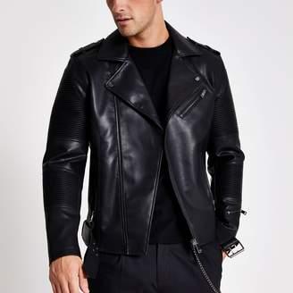 River Island Mens Black faux leather belted biker jacket