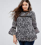 Koko Plus Top With Frill Sleeves And Peplum In Leopard Print