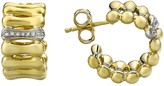 Chimento 18K Yellow & White Gold Bamboo Over Collection Hoop Earrings with Diamonds