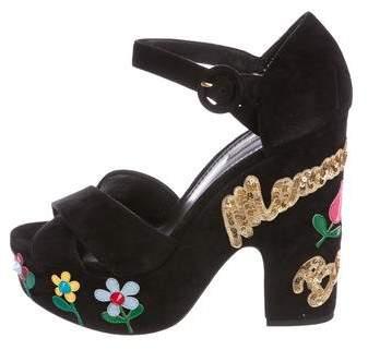 Dolce & Gabbana 2016 Mamma Bella Suede Sandals