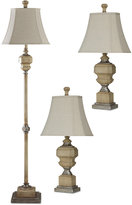 Stylecraft Set of 3 Antique Caramel Finish Lamps: 1 Floor Lamp & 2 Table Lamps