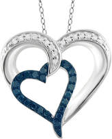 FINE JEWELRY 1/4 CT. T.W. White and Color-Enhanced Blue Diamond Sterling Silver Heart Pendant
