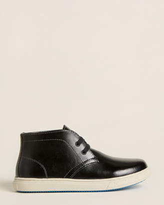 Florsheim Kids Boys) Black Curb Leather Chukka Sneakers