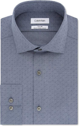 Calvin Klein Men Steel Slim-Fit Non-Iron Performance Stretch Dash Grid-Print Dress Shirt