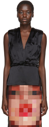 Marni Black Satin Deep V Tank Top