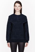 Alexander Wang Blue Brushed Mohair Tucked Sleeve Sweater