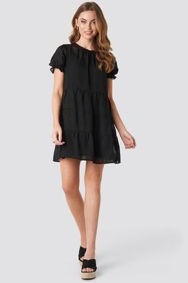 NA-KD Round Neck Dobby Mini Dress Black