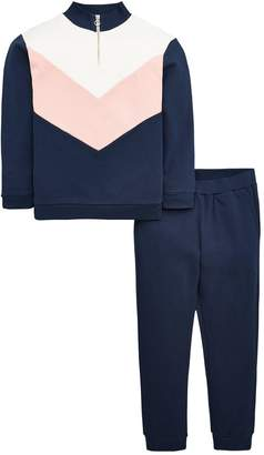 Very Girls Zip Detail Colour Block Jog Set - Navy