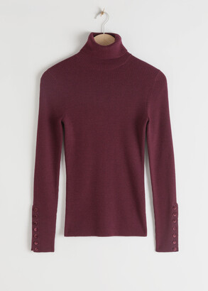And other stories Fitted Button Cuff Ribbed Turtleneck