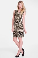 Tahari 'Wave' Print Cowl Neck Sheath Dress
