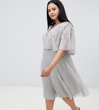 Asos DESIGN Curve flutter sleeve midi dress with pleat skirt in embroidery-Multi
