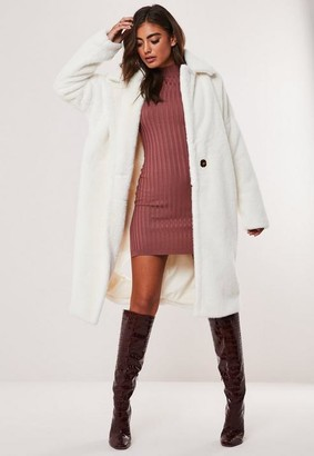 Missguided White Oversized Faux Fur Coat
