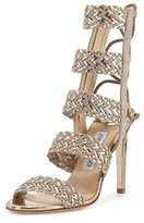 Jimmy Choo Lima Braided Leather 100mm Sandal, Marble/Light Champagne