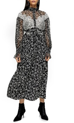 Topshop Floral Lace Long Sleeve Shirtdress