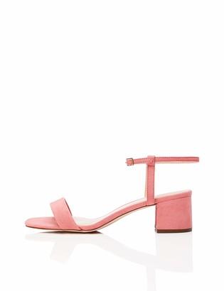 Find. Amazon Brand Women's Block Heel Mule Open-Toe Sandals with Strap Orange Peach) US 5