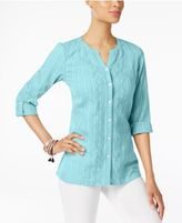 JM Collection Petite Cotton Embroidered Shirt, Only at Macy's