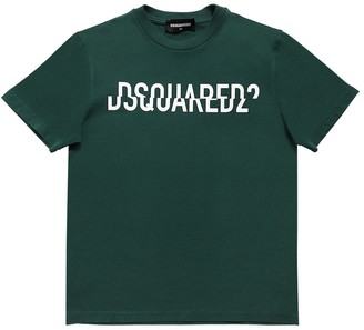 DSQUARED2 Split Logo Print Cotton Jersey T-shirt
