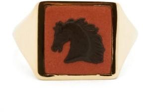 Wedgwood Ferian Ceramic Horse Head & Gold Signet Ring - Womens - Black