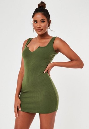Missguided Khaki V Front Ribbed Cami Mini Dress
