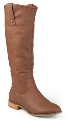Brinley Co. Women's Faux Leather Mid-calf Round Toe Boots
