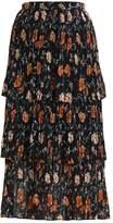 New Look NINA TIER PLEATED MIDI Pleated skirt black