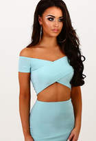Pink Boutique Deviant Duck Egg Blue Crossover Slinky Bardot Crop Top