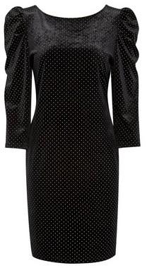 Dorothy Perkins Womens Black Spot Print Velvet Bodycon Dresss, Black