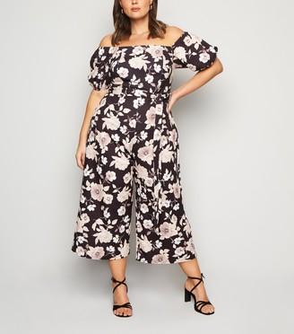 New Look Curves Floral Bardot Jumpsuit