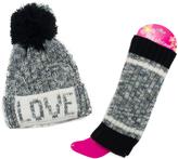 Pink Platinum Gray 'Love' Beanie & Leg Warmer Set