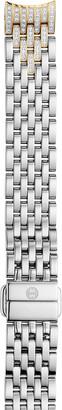 MICHELE 14mm Sidney Classic 7-Link Taper Two-Tone Bracelet w/ Diamonds