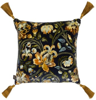 House of Hackney Gaia Floral-print Cotton-velvet Cushion - Dark Blue