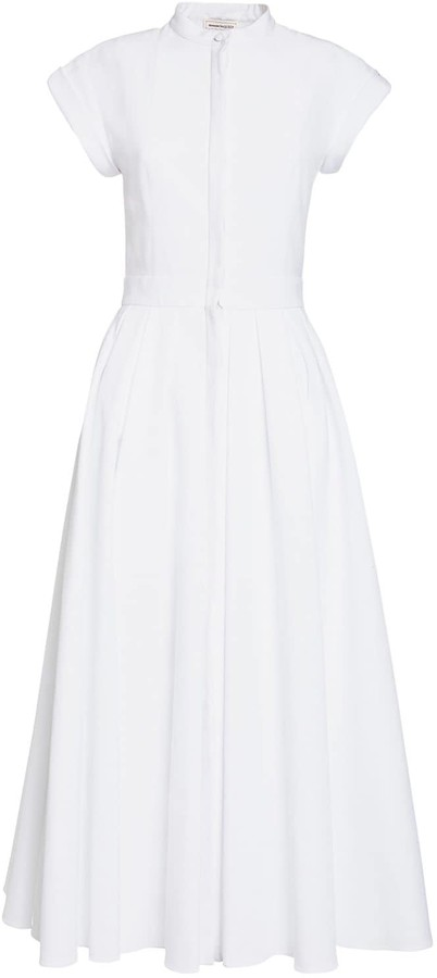 Thumbnail for your product : Alexander McQueen Cotton Piquet Midi Dress