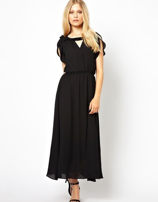 Mina Maxi Dress With Beaded Neckline