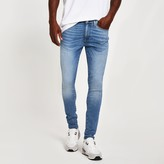 Mens River Island Light Blue Ollie skinny spray on jeans